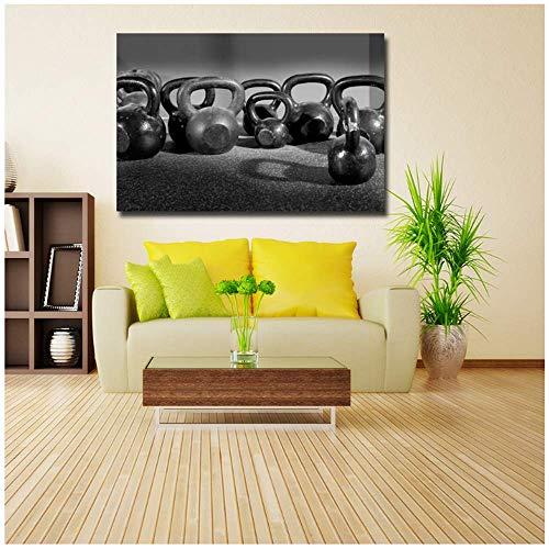 Moderne nordische Art gedruckt Leinwand Kunst Fitnessgeräte Viele Hanteln schwarz Malerei Poster Wandbilder Wohnzimmer 60x80cm ohne Rahmen