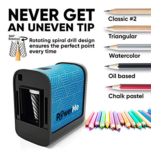 POWERME Electric Pencil Sharpener - Pencil Sharpener Battery Powered for Kids, School, Home, Office, Classroom, Artists – Battery Operated Pencil Sharpener For Colored Pencils, Ideal For No. 2 (Blue) Photo #6