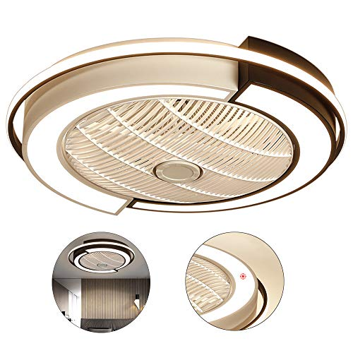 KBSN Ventilador de Techo de Cristal con Luces LED y remotas, 3 configuración de la luz Invisible Moderna retráctil de la lámpara del Ventilador para Comedor Dormitorio,36 W