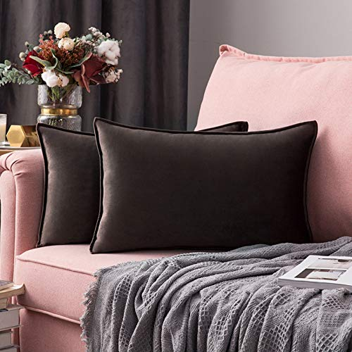 MIULEE 2er Set Samt Kissenbezug Flansch Kissenhülle Dekorative Dekokissen mit Verstecktem Reißverschluss Sofa Schlafzimmer 12 x 20 Inch 30 x 50 cm