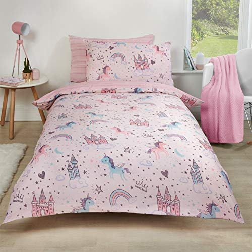 Dreamscene Unicorn Kingdom Duvet Cover with Pillow Case Reversible Star Stripe Bedding Set, Girls Fairy Castle Pink - Single