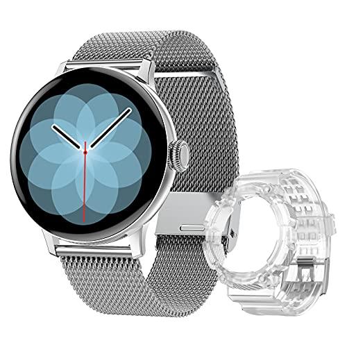 DTNO.I Smartwatch Mujer con llamadas 1.3'' HD Pantalla de Círculo Completo Reloj Deportivo, Los Relojes Inteligentes con Pulsómetro Cardíaca Monitores de Actividad para IOS y Android(Plata)