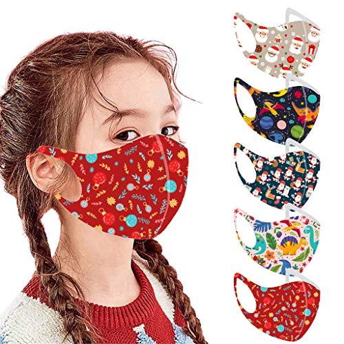 Kids Reusable Face Macks Breathable Seamless Cute Print Cartoon Cotton/Ice silk/PVC/Cloth Face Mas For Children (Kids_5pcs_S)