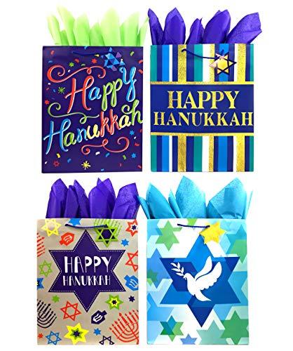 Set of Hanukkah Gift Bags and Tissue Paper (4 Bags + Tissue Paper, Happy Hanukkah)