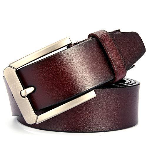 FLWVDFG Cinturón Casual De Cuero con Hebilla para Hombre, Cinturón De Cuero para Pantalones,Marrón,43inch