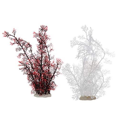 Balacoo 2 Piezas Artificial Acuario Planta Artificial Planta Acuática Realista Planta Submarina Pecera Hierba Ornamental para Acuario Decoración de Peceras Rojo Blanco