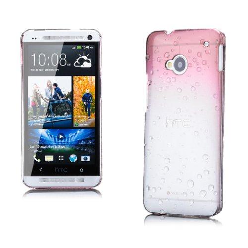 HTC One M7 | iCues gotas de agua Caja rosada | Transparente lámina protectora de la piel Claro Claro protectora transparente de protección [protector de pantalla, incluyendo] Cubierta Cubierta Funda Carcasa Bolsa Cover Case