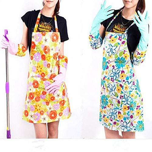 Huien Bloemendruk Mode Dames Plastic Keukenschorten Schoonmaken Koken Goedkope Schorten Chef Schorten