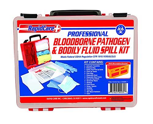 Rapid Care First Aid 839BBK-1 Premium Blood Borne Pathogen & Bodily Fluid Spill Kit, OSHA Compliant, Wall Mountable, 10' x 8' x 3 1/2'