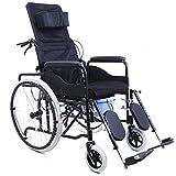 ZXL@ED Leichtklapp Rollstuhl, Tragbare Voll Liegen High Back Transit Reiserollstühle Mit Gerät Für Senioren Behinderte Und Behinderte Nutzer schwer -