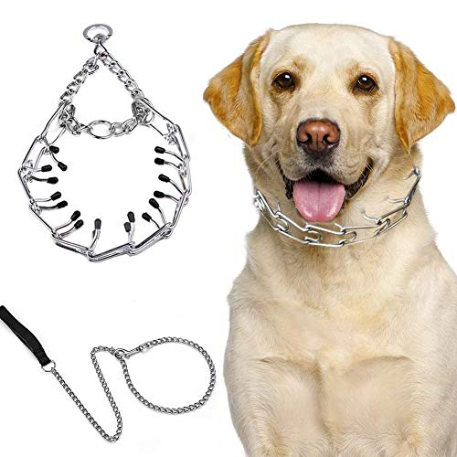 YUNDING Dog Prong Training Collar with Dog Leash 120cm Anti-Rust Dog Pinch Collars Anti-Entanglement Explosion Proof, for Small and Medium and Large Dogs(Size:XL)