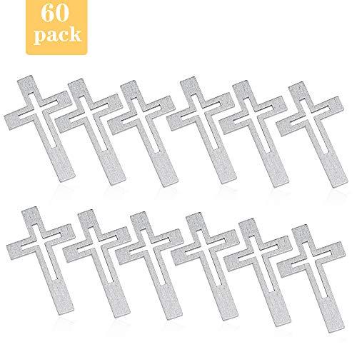 O-Kinee Hölz Kreuze Taufe Tischdeko Streudeko, 60 Stück Silber Holzkreuz Taufe Tischdekoration Streu Deko für Junge Mädchen Kommunion Konfirmation Taufe Tischstreu