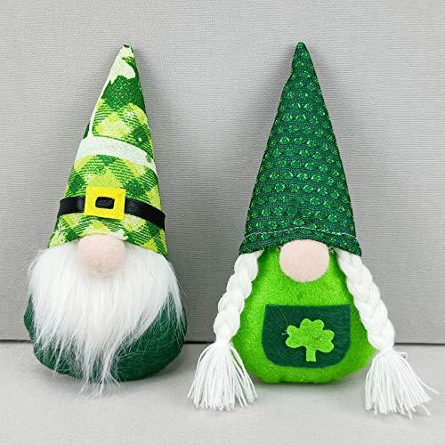 Set di 2 Decorazioni per Gnomi di San Patrizio, Gnomi Irlandesi Elfo Leprechaun Fatto a Mano Tomte Decorazione, Bambole Gnome Peluche con Trifoglio Verde per San Patrizio Irlandese