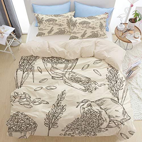 LISNIANY Beige Duvet Cover,Nahtlose Reis Platten Taschen Lebensmittel und Getränk Natur,Mikrofaser Bettbezug 135 * 200cm 2 Kissenbezug 50 * 80cm