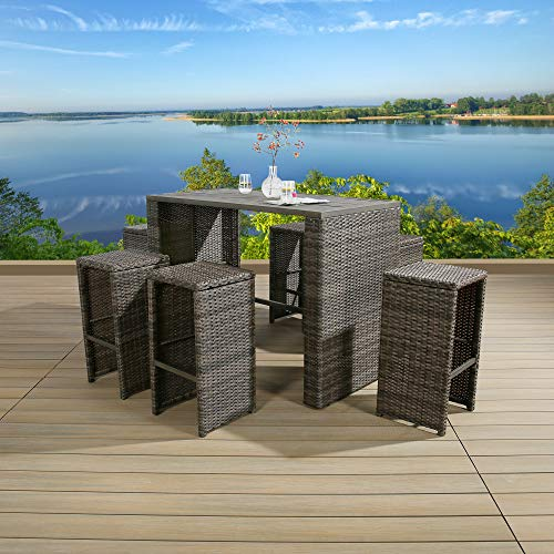 3Pcs Patio Outdoor Wicker Bar Set with Stools
