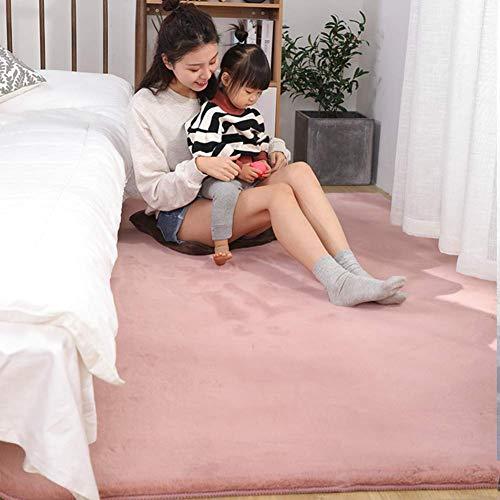 Ultraweiche Faux-Pelzbereich Teppich, dicke feste Farbe Kaninchen-Pelz-Teppichsofa-Cover-Bettdecke für Wohnzimmer-Schlafzimmer Kinderzimmer-hellbraun 180x220cm (71x98 Zoll), Pink, 80x200cm (31x79inch)