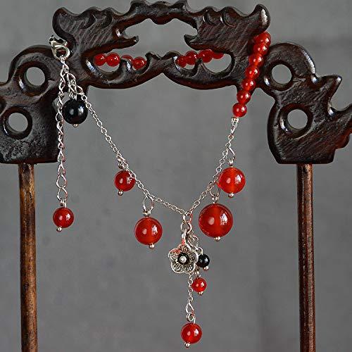JZHJJ eenvoudige en stijlvolle klassieke paar armband vrouwen armband retro natuurlijke rode agaat armband dual-use armband armband armband enkelband zilveren armband bevat: armband, armbanden vrouwen