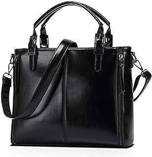TDLJSVZE 女性のオイルレザーハンドバッグファッション大容量ステッチメッセンジャーバッグショルダーバッグ仕事、旅行 (Color : Black)