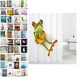 Sanilo Duschvorhang, viele schöne Duschvorhänge zur Auswahl, hochwertige Qualität, inkl. 12 Ringe, wasserdicht, Anti-Schimmel-Effekt (Frosch, 180 x 200 cm)