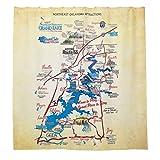 Neok Duschvorhänge mit 12 Haken, Motiv Landkarte