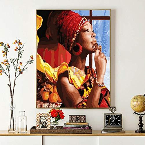 DIY Schilderen op nummer Handgetekende frameloze foto van een vrouw die omhoog kijkt naar het landschap buiten het raam 40x50cm