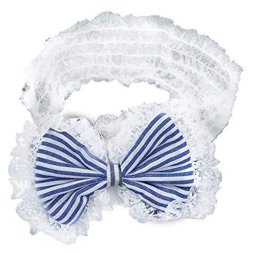 PQZATX une Piece du decor de cheveux avec un noeud papillon en dentelle bandeau de l'enfant serre-tete pour les enfants bleu
