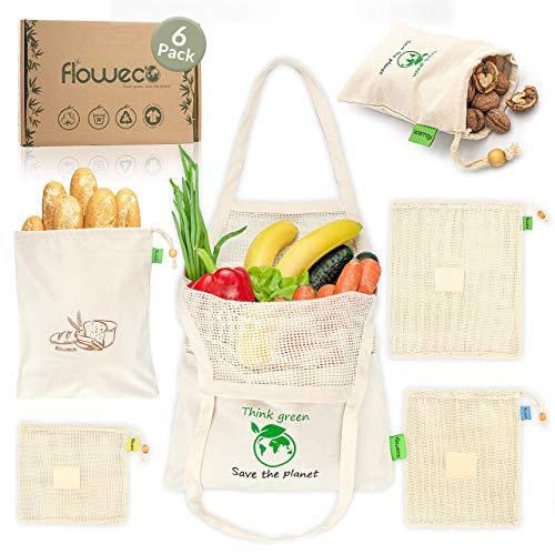 FlowEco Wiederverwendbare Einkaufsbeutel Gemüsebeutel 6er Set aus 100% Bio Baumwolle - Obstbeutel Baumwollbeutel Obst & Gemüse – Mehrweg Einkaufstaschen Stoffbeutel Baumwolltasche