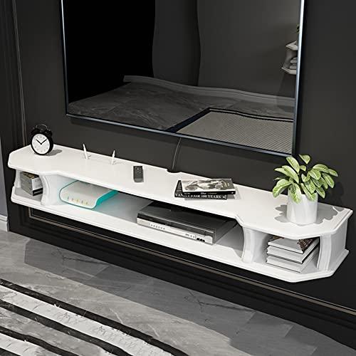 Estante flotante, organizador de gabinete de TV montado en la pared, estante decorativo de pared de fondo de madera maciza de sala de estar, estante de decodificador de pared colgante, diseño abi