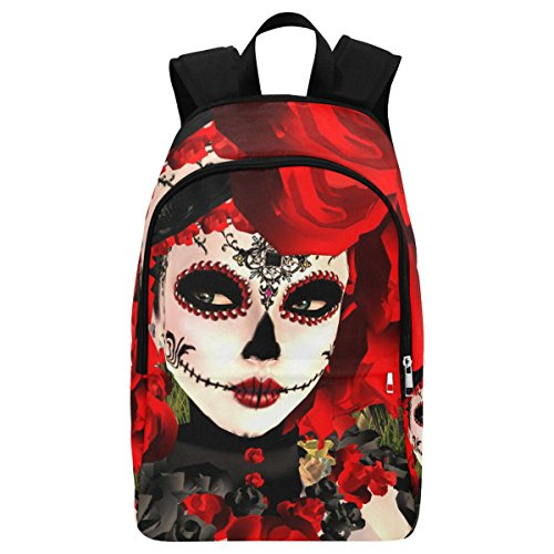 InterestPrint Dia De Los Muertos Skull Casual Backpack College School Bag Travel Daypack