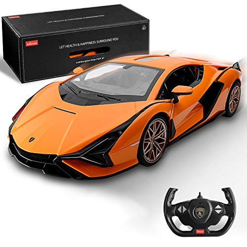 BEZGAR X RASTAR Licensed RC Series, 1:14 Scale Diecast Remote Control Car Lamborghini Sián FKP 37 Electric Sport Racing Hobby Toy Car Model Vehicle for Boys and Girls Teens and Adults Gift (Orange)