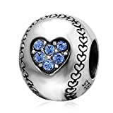 SOUKISS Love Baseball Charms 925 Sterling Silver Birthstone Crystal Sports Charm for European Bracelet (Sapphire)