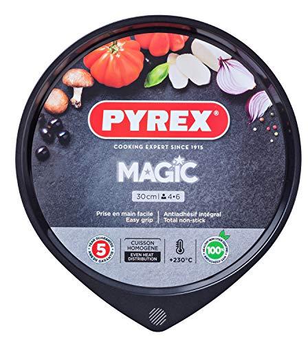 Pyrex Magic Bandeja de Horno para Pizza, Acero Inoxidable, Negro, 30 cm
