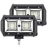 GEUKO 5'54W Spot Light Beam Faros Antiniebla Led para Automóviles, Barra De Luz Led De Trabajo Impermeable Amarilla Blanca 12V 24V para Jeep Truck 4X4 ATV, 2 Piezas