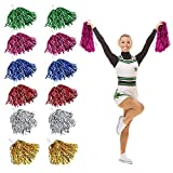 RMENOOR 12 Pack Cheerleading Pom Poms Fluffy Pom Poms Cheer Metallic Strips With