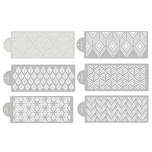 RAYNAG 6 Pieces Cake Stencils Baking Templates Cookie Fondant Cupcake Embossing Mesh Stencil Dessert Decorating Molds, Spray Cake Painting Stencils