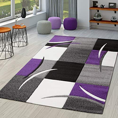 TT Home Alfombra Diseño Contorneada Moderna Cuadros Lila Negro Gris, Größe:60x110 cm