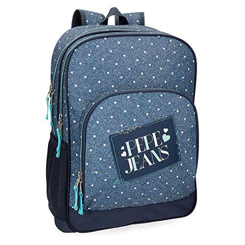 Pepe Jeans 6152561 Olaia Mochila Escolar, 45 cm, 21.6 litros, Azul