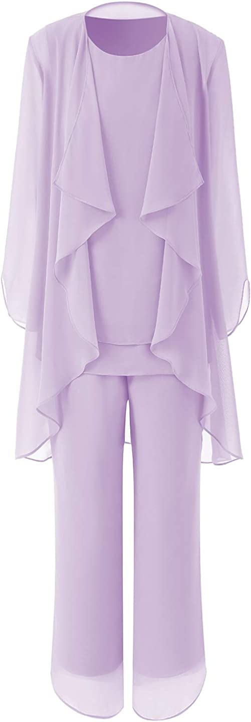 Women's 3 Pieces Long Sleeve Outfits Mother of Bride Dress Pant Suits with Jacket Chiffon Tailored