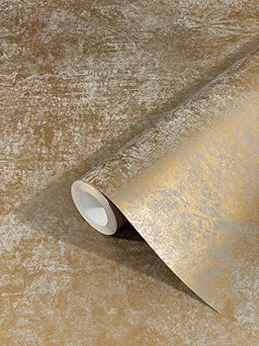 marburg Tapete Gold Uni Modern Klassisch Opulent für Schlafzimmer Wohnzimmer oder Küche 10,05m x 0,53m Made in Germany