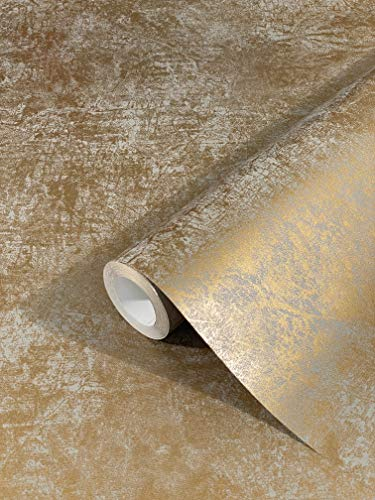 Papel Pintado Pared Dorado para pared Clásico Opulento elegante Dormitorio Salón o Cocina 10,05 x 0,53m Fabricado en Alemania