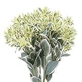 HUAESIN 4pcs Ramo de Flores Artificiales para Exterior e Interior, Falsa Flores de Plastico Rama de Eucalipto con Flores Blancas Pequenñs para Jarrones Jardinera Patio Mesa Balcon Terraza Hogar