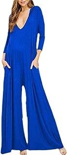 Women Romper V Neck Long Sleeve Solid Color Wide Leg Jumpsuit