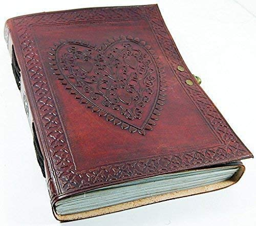 Vintage Heart Embossed Leather Journal/Instagram Photo Album (Handmade Paper) - Coptic Bound with Lock Closure - Heart Journal (Brown)