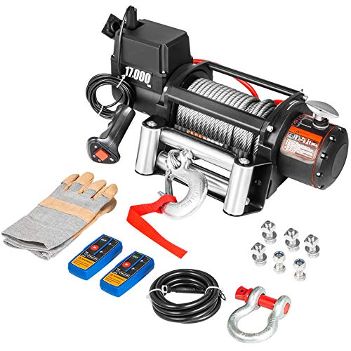 VEVOR Truck Winch 17000LBS, Electric Winch 26m/85ft, Steel Cable 12V, Power Winch Jeep Winch with Wireless Remote Control and Powerful Motor for UTV ATV Jeep Truck and Wrangler in Car Lift