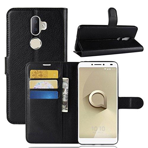 LMFULM® Hülle für Alcatel 3V 5099D (6 Zoll) PU Leder Magnet Brieftasche Lederhülle Litschi Muster Standfunktion Ledertasche Flip Cover für Alcatel 3V Schwarz