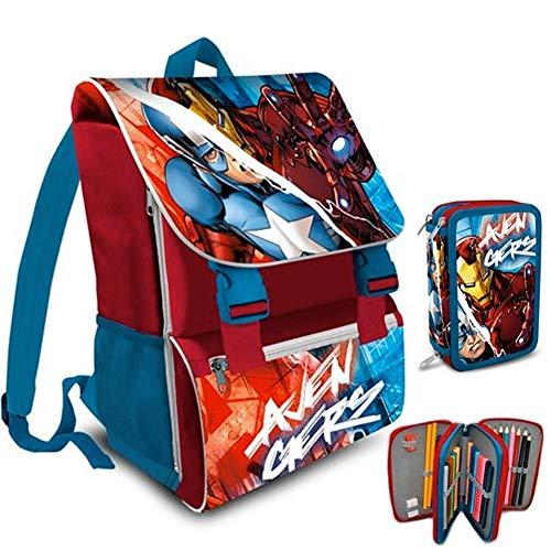 Trade Shop Traesio Zaino Scuola Estensibile Avengers Cartella e Astuccio Completo 3 Zip Elementari