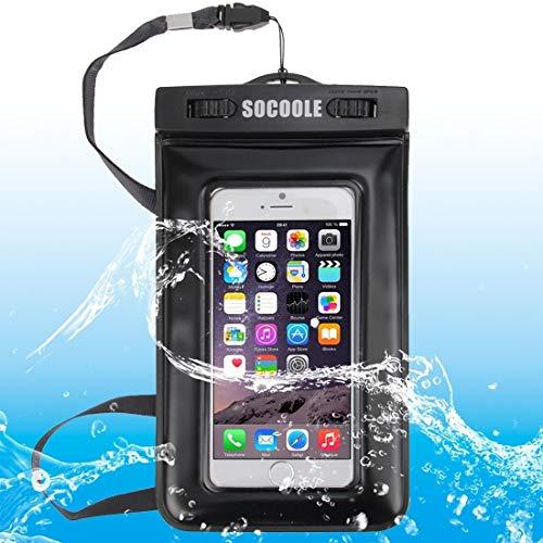 SOCOOLE WPC-007 Bolsa Impermeable Universal para iPhone 6 y 6s, Samsung S6 / Note 4 / Note 3 / Note2, etc. Todos por Debajo de los teléfonos Inteligentes de 6.0 Pulgadas, IPX8 Certified (Negro)