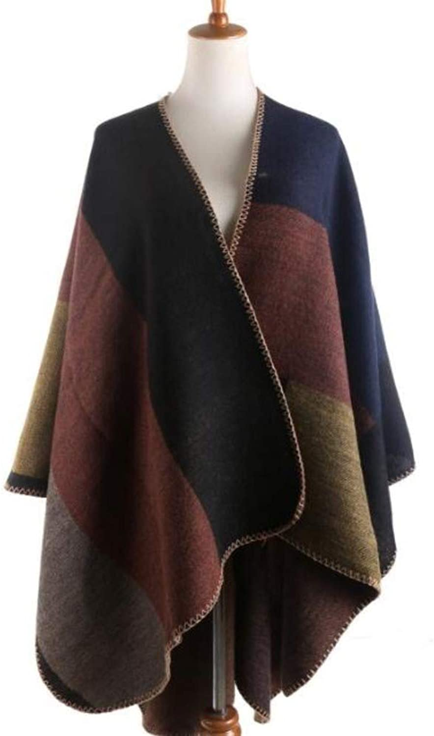 Ultra Soft colorBlock Wrap Shawl Scarf w Blanket Stitched Edge  Deep Delicious Warm colors Go With Everything