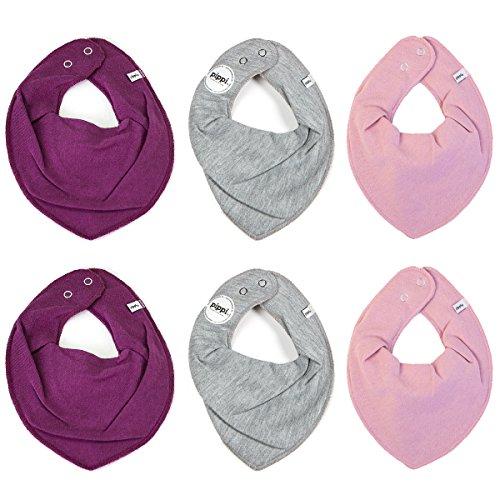 Pippi Pippi 6er Pack Baby Mädchen Halstuch, Farbe: Rosa, Grau und Lila, One Size