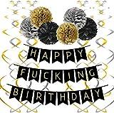 Dafang Decoración de Fiesta happyfuckingbirthday Fiesta decoración género Guerra cumpleaños decoración Suministros Set